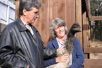 Roger and Sharon with Winston the Emu